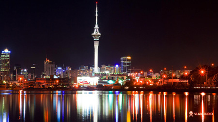 Postcard: Auckland at night.
