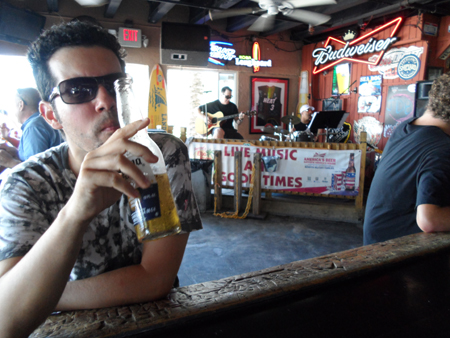 At the bar, next to the beach, I could drink a really cold beer...