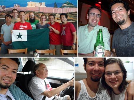 Esperantumante kun Randy kaj amikoj en Atlanta; with Tim drinking in Syracuse; con Allan manejando a New Jersey; e com a minha querida Lena em Charlotte.