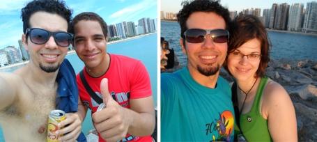 Com Lena e Geomar na Praia de Iracema, em Fortaleza. (Clique na foto para ampliá-la)