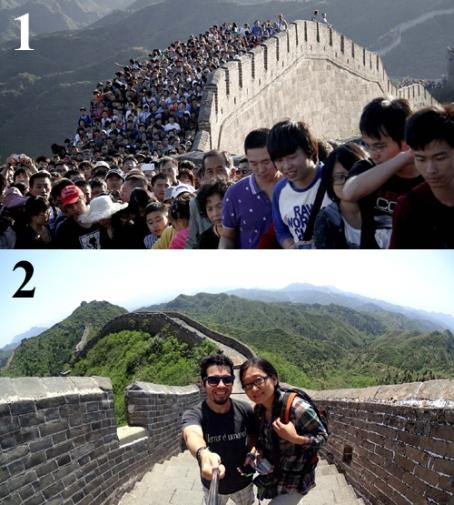 Foto 1: Muralha lotada. Foto 2: Eu e Ĝoja em Jinshanling.