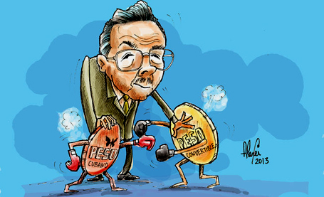 O presidente Raul Castro tenta separar a briga entre as moedas.